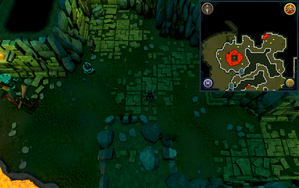 Scan clue Brimhaven Dungeon lower level in passage east of north-west chamber with central lava pool.png