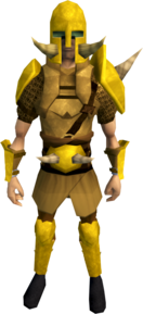 Golden Torag's armour equipped (male).png: Golden Torag's helm equipped by a player