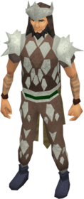 Leather armour (class 5) equipped.png: Coif (class 5) equipped by a player