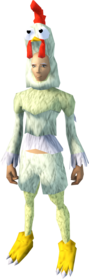 Chicken outfit equipped (female).png: Chicken head equipped by a player