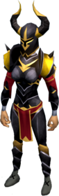 Elite black armour equipped (female).png: Elite black full helm equipped by a player