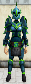 Rune armour (Guthix) (heavy) equipped (female).png: Rune platelegs (Guthix) equipped by a player