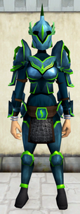 Rune armour (Guthix) (heavy) equipped (female).png: Rune kiteshield (Guthix) equipped by a player