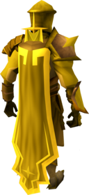 Golden warpriest of Saradomin cape equipped.png: Golden warpriest of Saradomin cape equipped by a player