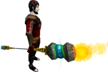 Elemental battlestaff equipped.png: Elemental battlestaff equipped by a player