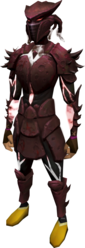 Sirenic armour set (blood) equipped.png