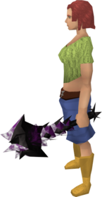 Off-hand drygore mace (shadow) equipped.png: Augmented off-hand Drygore mace (shadow) equipped by a player