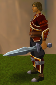 Off-hand iron ceremonial sword I equipped.png: Off-hand iron ceremonial sword I equipped by a player
