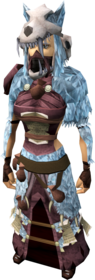 Shaman's outfit equipped (female).png: Shaman's hand wraps equipped by a player