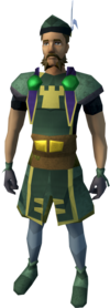 Commander outfit (skirt) equipped (male).png: Commander top equipped by a player