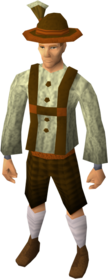 Lederhosen outfit equipped (male).png: Lederhosen shorts equipped by a player