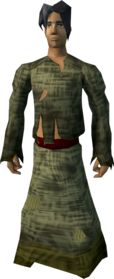 Slave outfit equipped (male).png: Slave robe equipped by a player