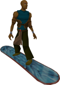 Snowboard (frosty) equipped.png: Snowboard (frosty) equipped by a player