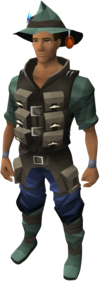 A player wearing the full fishing outfit
