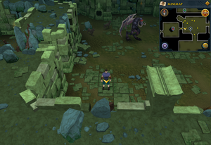 Scan clue Brimhaven Dungeon lower level between the vines and Summoning obelisk.png