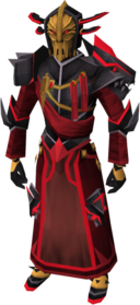 Black Knight captain's armour equipped.png: Black Knight captain's gown equipped by a player