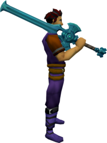 Elder rune 2h sword + 3 equipped.png: Elder rune 2h sword + 3 equipped by a player