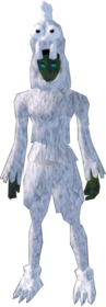 Ghostly chicken outfit equipped (female).png: Ghostly chicken legs equipped by a player