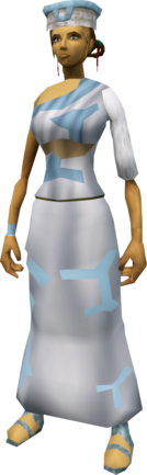 Villager outfit (blue) equipped (female).png: Villager robe (blue) equipped by a player