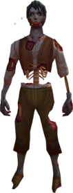 Rotten zombie outfit equipped.png: Rotten zombie hands equipped by a player