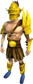 Golden Verac's armour equipped (male).png: Golden Verac's brassard equipped by a player