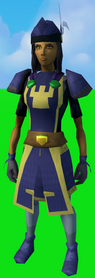 Serjeant outfit (skirt) equipped (female).png: Serjeant skirt equipped by a player