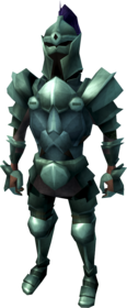 Adamant armour (heavy) equipped (male).png: Adamant armoured boots equipped by a player