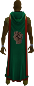 Hooded strength cape (t) equipped.png: Hooded strength cape (t) equipped by a player