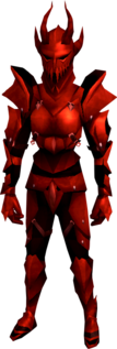 Dragon armour (heavy) equipped (female).png: Dragon gauntlets equipped by a player