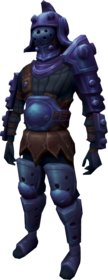 Bane armour + 1 equipped (male).png: Bane armoured boots + 1 equipped by a player