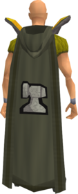 Retro hooded smithing cape equipped.png: Hooded smithing cape equipped by a player