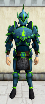 Rune armour (Guthix) (heavy) equipped (male).png: Rune kiteshield (Guthix) equipped by a player