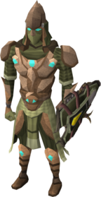 Sagittarian armour equipped.png: Sagittarian vambraces equipped by a player