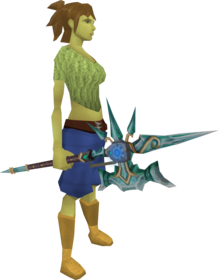 Augmented attuned crystal halberd equipped.png: Augmented attuned crystal halberd equipped by a player