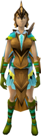 Dragon Rider armour equipped (female).png: Dragon Rider helm equipped by a player