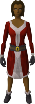 A female player wearing the Santa costume.