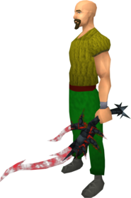 Off-hand drygore longsword (blood) equipped.png: Augmented off-hand drygore longsword (blood) equipped by a player