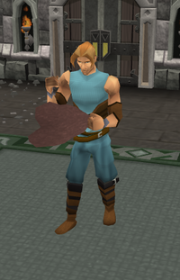 A player crafting armour