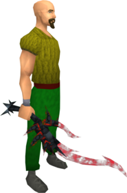Drygore longsword (blood) equipped.png: Augmented drygore longsword (blood) equipped by a player