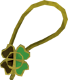 Shiny two-leaf clover necklace detail.png