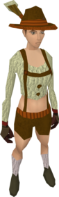 Lederhosen outfit equipped (female).png: Lederhosen shorts equipped by a player