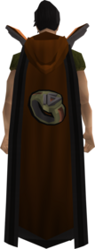Retro hooded dungeoneering cape equipped.png: Hooded dungeoneering cape equipped by a player