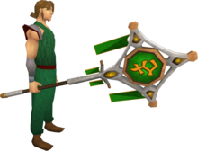 Banner of Bandos (tier 3) equipped.png: Banner of Bandos equipped by a player