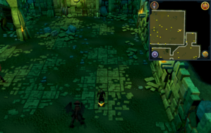 Scan clue Brimhaven Dungeon lower level in eastern part of red dragon chamber.png