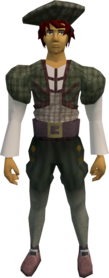 Audience costume (male, green) equipped.png: Shirt (male, green) equipped by a player