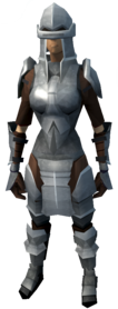Iron armour (heavy) equipped (female).png: Iron platebody equipped by a player