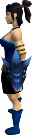 Blue dragonhide shield equipped.png: Blue dragonhide shield equipped by a player