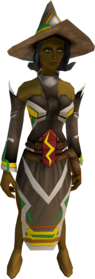 Infinity robe armour (Earth) equipped (female).png: Infinity hat (Earth) equipped by a player