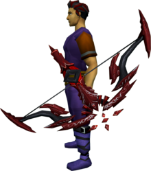 Seren godbow (blood) equipped.png: Seren godbow (blood) equipped by a player