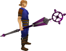 Enhanced ancient staff equipped.png: Enhanced ancient staff equipped by a player